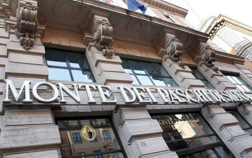 Una foto di archivio della banca Monte Pashi Siena a Roma.  /ANSA/DEMANIO/BONOTTO
