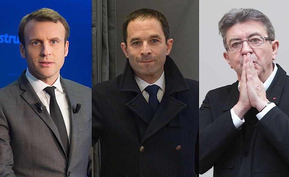 Macron Hamom Melenchon