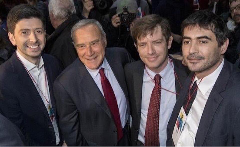 """Nella foto: La """"squadra"""": Roberto Speranza, Pietro Grasso, Nicola Fratoianni, Pippo Civati"""